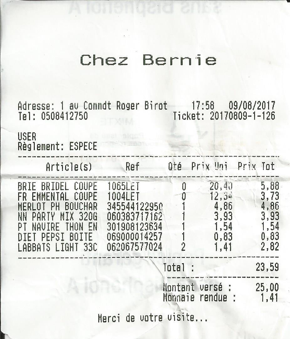 St. Pierre. Food store receipt.
