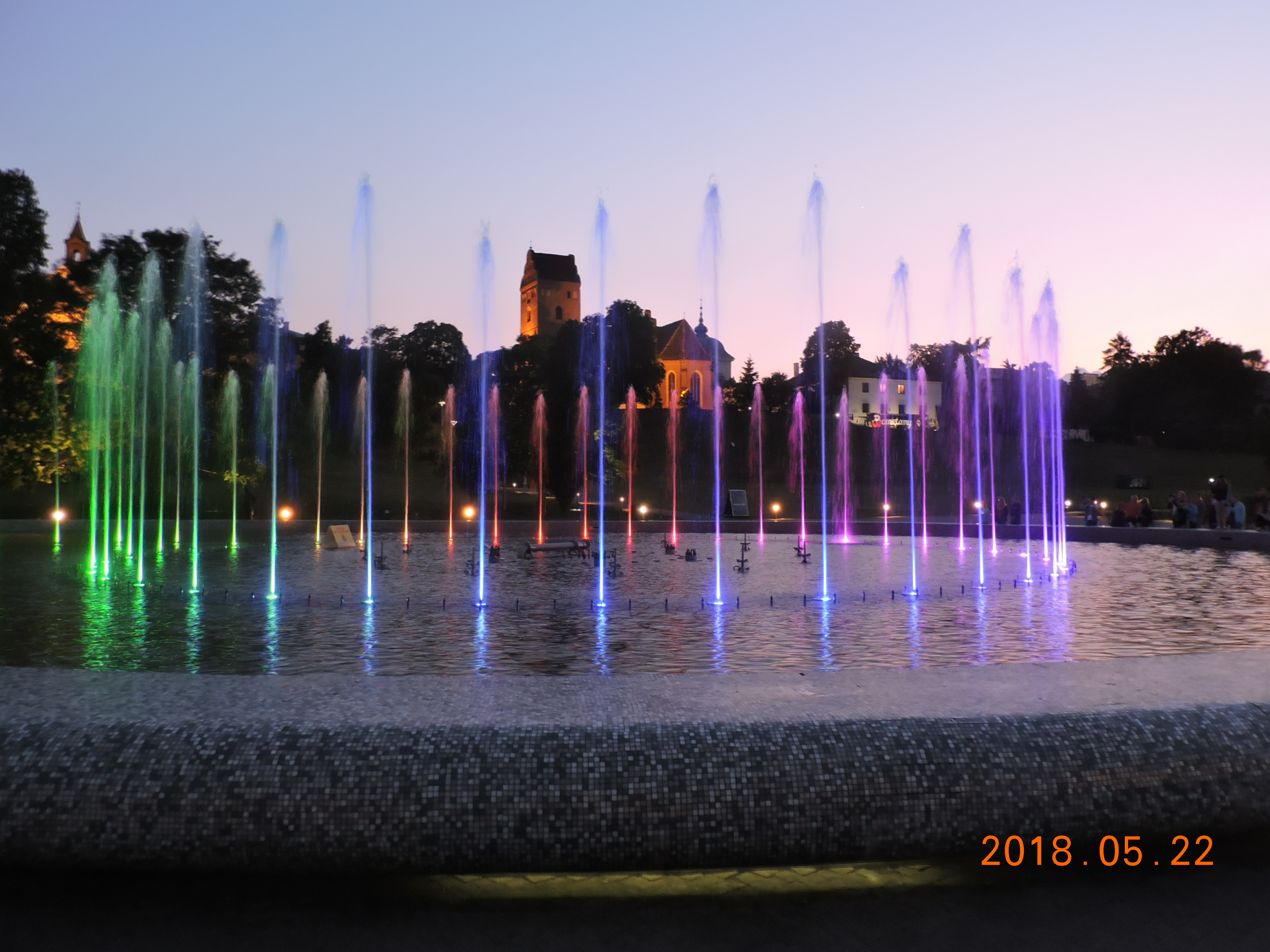 Warsaw Night. Fountains.